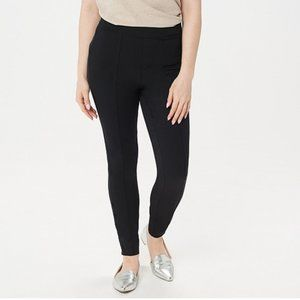 Isaac Mizrahi Stretch Ankle Pants Faux Button Hem